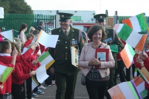 The Army came to our school today to present us with an Irish flag and a copy of the proclamation